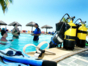 Scuba diving introductory lesson at the pool